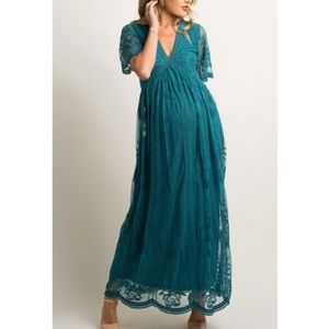 Pinkblush teal Turquoise lace maxi dress NWT